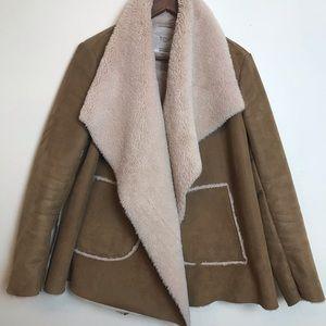 Zara Brown Laple Open Front Shearling Coat